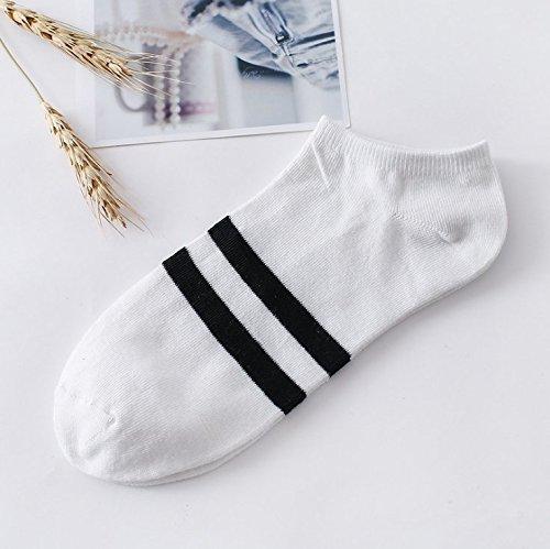 Preisvergleich Produktbild LSGDSXMIY Frühjahr und Herbst wilden Damen niedrig, um Socken seichten Mund Socken Baumwolle Socken Winter Sport Schweiß Deodorant Socken Männer dünne Boot Socken, eine Größe, weiß (schwarze Streifen) helfen