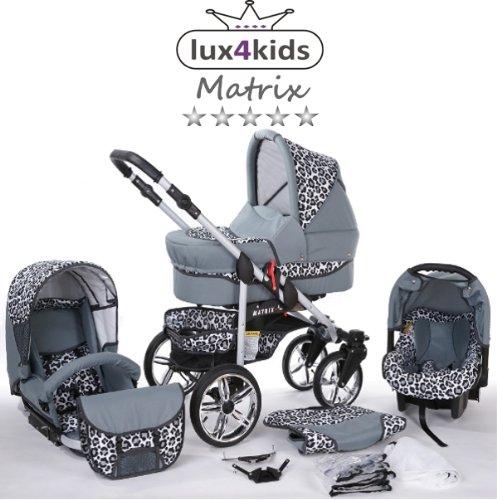 Chilly Kids Matrix II Kinderwagen Komplettset (Autositz & Adapter, Regenschutz, Moskitonetz, Schwenkräder) 60 Graphit & Leopard