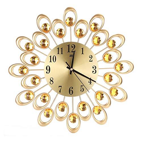 Sanzhileg Estilo Europeo Moderno Reloj de Pared de Hierro Forjado Diamante Cuarzo Reloj silencioso Decoración para el hogar Gallo de Pared para la Sala de Estar Dormitorio - Color Oro