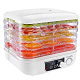 Food Dehydrator, HOMEMAXS Electric Fruit Dehydrater Including 5 Stackable Trays, Digital Temperature Settings and Timer, Adjustable Space, Noiseless and BPA Free, White