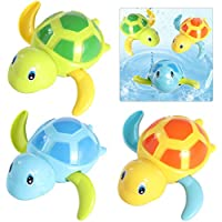 TOYMYTOY Los juguetes plásticos de la tortuga del agua de baño del bebé tienen juguetes del tiempo de la bañera de la diversión - paquete de 3