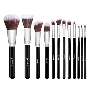 Juego cosmético profesional, natural y sintético con 12 cepillos de maquillaje Kabuki, para aplicar base, mezclas, colorete, líneas de ojos y polvo para el rostro, incluye estuche gratuito, color negro plateado