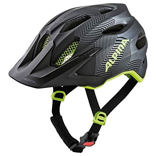 Alpina Unisex Jugend Carapax JR. Fahrradhelm, Black-neon-Yellow, 51-56 cm