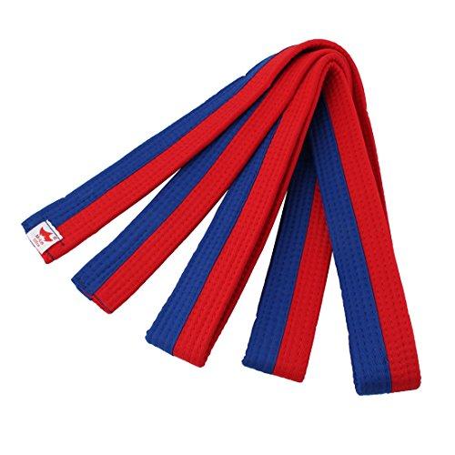 sourcing map Taekwondo Baumwolle Mischung einheitliche Band Gurt Blau Rot 220 cm Länge DE de -