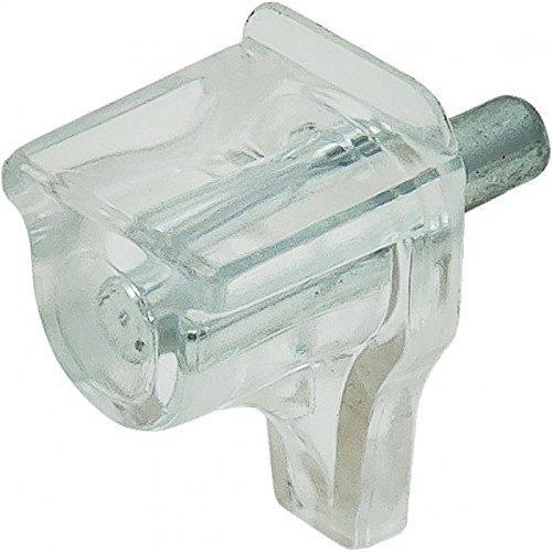 Lot de 50 – gedotec® Verre de sol bretelles 3 mm Triple Fond bretelles Étagère bretelles modèle Meta | acier/plastique transparent | Tablar bretelles pour bois et verre | Produit de qualité pour votre intérieur, transparent