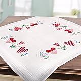 Stickpackung FRÜHLINGSROMANTIK / Komplettes vorgezeichnetes Tischdecken Set zum Sticken / Stickset mit Stickvorlage für Erwachsene / Sticken im Kreuzstich