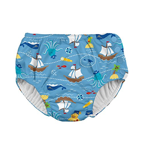 i play. Boys' Snap Reusable Absorbent Swim Diaper-mm, Light Blue Pirate Ship, 18mo
