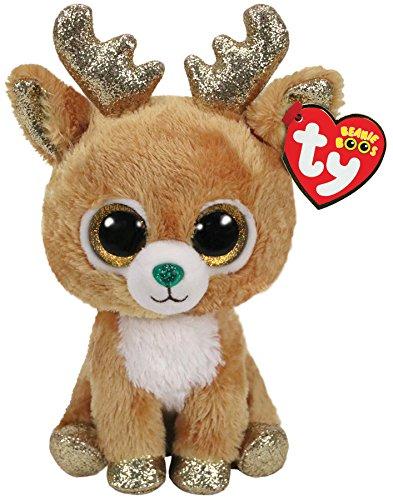 Ty- Beanie Boos Glitzy-Reno 15cm-Navidad, Color marrón, 15 cm (36220TY)