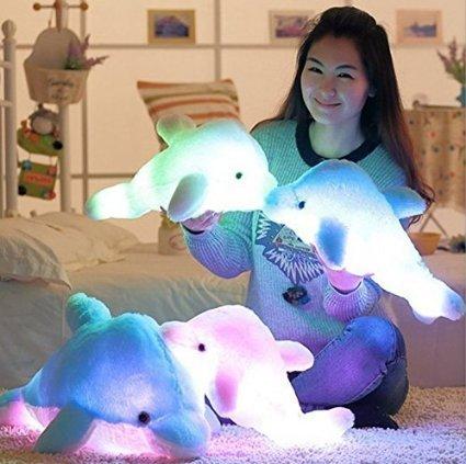 Kreative Nacht bunte LED-Licht Weich Spielzeug leuchtende Stuffed Delphin Plüschtiere Relax Kissen Puppen Geschenke (45cm, Rosa)