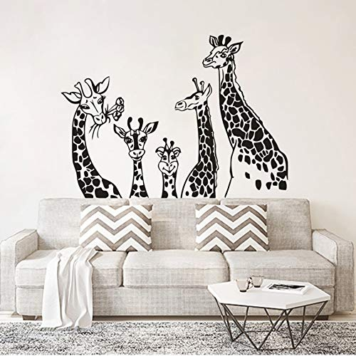 BailongXiao Giraffe Family Wand Vinyl Applique Animal Theme Kinderzimmer Dekoration Giraffe Safari Wandtattoo Kinderzimmer 102x73cm