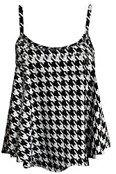 mafhh55® LADIES WOMENS PLUS SIZE PRINTED SLEEVELESS SWING VEST STRAPPY FLARED CAMI TOPS DRESSES (UK 12/14, DOG TOOTH)