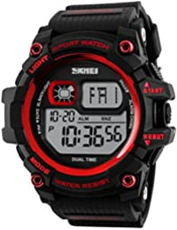 Skmei Special Digital Display Sport 5ATM Waterproof Stainless Steel Back Watch For Men & Women -1229 Red