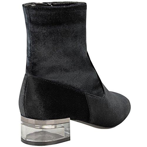 Damen Perspex Absatz Stiefeletten Niedrig Flach Chelsea Velvet Winter Schuh Größe Schwarz Samt