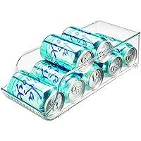 InterDesign Fridge/Freeze Binz Organizador de latas, caja de plástico para 9 latas de bebida, organizador de nevera, transparente