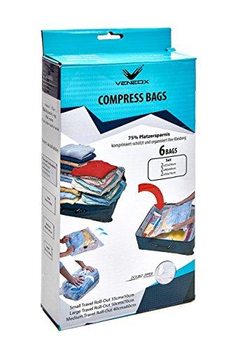 Kompressionsbeutel Rucksack Organizer Vakuumbeutel für Reise Kleidung Aufbewahrungsbeutel zum einrollen Ihrer Kleidung Reise, Backpacker Backpacking zubehör,zip-beutel wasserdicht ,dry bag,6er Set