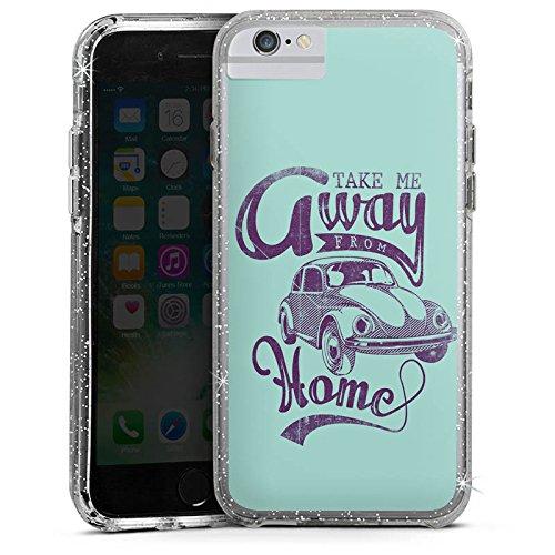 Apple iPhone X Bumper Hülle Bumper Case Glitzer Hülle Kaefer Auto Car Bumper Case Glitzer silber