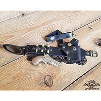 Fondina di datteri Steampunk Derringer Con pistola Derringer, proiettili e pizzo. Complemento in pelle sexy, micidiale e confortevole. (Nero)