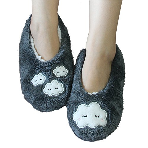 Home Slipper Cozy Fleece Christmas Stockings,Women's Non-Slip Slipper Socks, Winter Warming Floor Socks, Women's Winter Warm Thermal Fleeced Lined Knit Fuzzy Slipper Socks (One size, Grey Paw) (Warm, Socken Fuzzy)