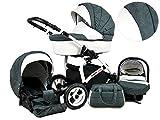 +++ SALE Raff White Lux System Kinderwagen Babywagen Buggy, Autositz Kinderwagen System 3 in1 + Wickeltasche + Regenschutz +Insektenschutz (Set 3w1: Wanne + Sportsitz + Babyschale, Dark Grey)