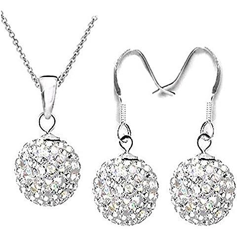 NYKKOLA - Set con collana e orecchini placcati argento Sterling 925, con perline in stile Shamballa, per donna