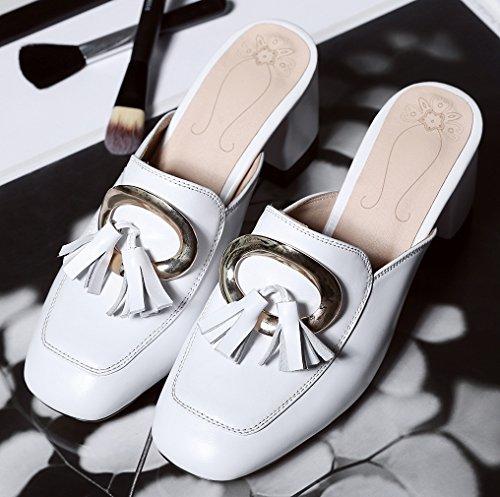 Calaier Femme Capoint 6.5CM Bloc Glisser Sur Mules et sabots Chaussures Blanc