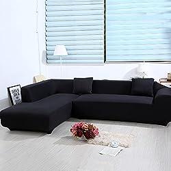 ele ELEOPTION, copridivano elasticizzato per divano a forma di L, set da 2 2 federe. Nero