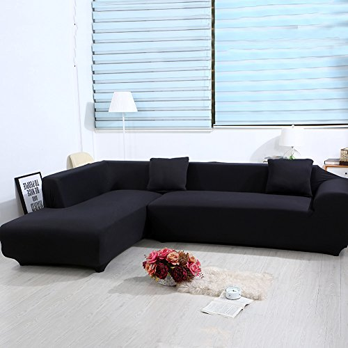 ele ELEOPTION Sofa Überwürfe elastische Stretch Sofa Bezug 2er Set 3 Sitzer für L Form Sofa inkl. 2 Stücke Kissenbezug (Schwarz)