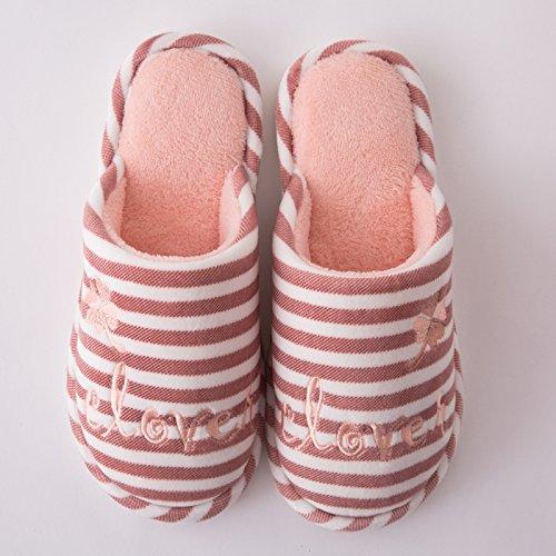 DogHaccd pantofole,Paio di pantofole di cotone femmina di fondo spesso inverno pantofole di peluche inverno pavimento coperto home caldo maschio pantofole Pelle rosso