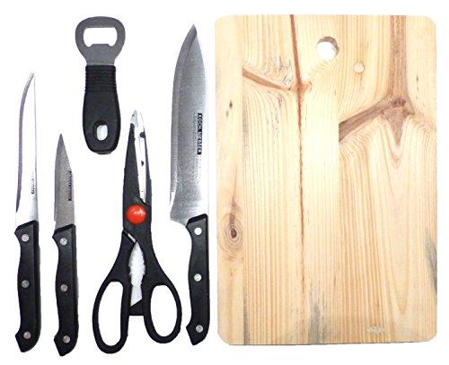 Evil Wear Küchen-Set 6-teilig Messer-Sets Flaschen-Öffner Holz Schneide-Brett