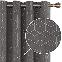 Deconovo Thermal Insulated Blackout Curtains Ring Top Curtains Diamond Foil Printed Curtains for Bedroom W55 x L69 Grey Inch One Pair