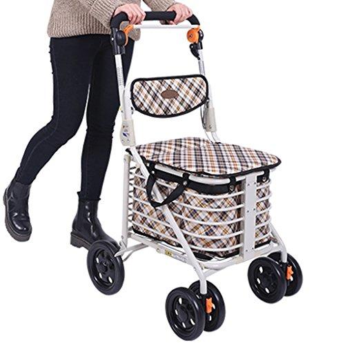 Gtt Warenkorb Push-Pull-Auto Treppenlift Senior kaufen Lebensmittelwagen Walker Vierradwagen Kann sitzen und Falten (Color : Brown, Size : 48 * 58 * 92cm)