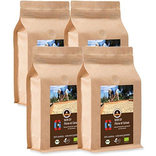 Kaffee Globetrotter - Guatemala SHB EP Finca El Catuai - Bio - 4 x 1000 g Mittel Gemahlen - für...