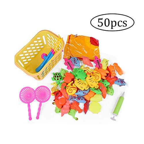 Beito Lernen Bildung Magnetic Angeln Spielzeug Badespielzeug Wasserdichtes Schwimmende Fisch Spielset Für Junge Mädchen Kleinkinder Angelspiel Für Kinder-Party-Bevorzugungen 1 Set (50Pcs) (Für Party-themen Kleinkind-jungen)