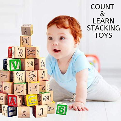 Jaques of London Count and Spell Wooden Blocks A QUALITY Great Learning Resource - hours of fun with this Numbers and Letters Wooden Toys. Perfect Kids Game and Toddler Toy - Suitable Montessori Toys