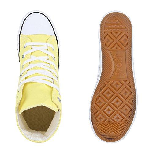 Herren Schuhe Sneakers Sneaker High Denim Turnschuhe Camouflage Stoffschuhe Schnürer Flandell Gelb Weiss
