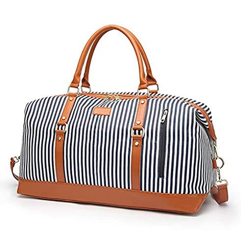 MYLEDI Übergroße Canvas Reisetasche Damen Travel Duffel Bag, Elegant Wasserdichtes Large Capacity Carry On Handgepäck Weekender Tasche für Kurze Reise am Wochenend Urlaub mit Gestreift
