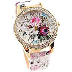Fashion Watch FEITONG Flower Mission Colored Diamond Watch