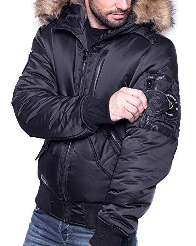 BLZ jeans - doudoune fashion noir capuche fourrure Noir