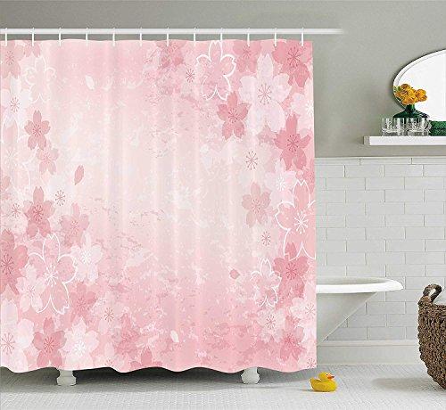 Nyngei Haus Dekor Duschvorhang Set Kirschblüten Muster Shabby Chick Stil Dekorative Flourish Modische Kunstwerke Badezimmer Zubehör 180x Rosa (Rosa Duschvorhang Set)