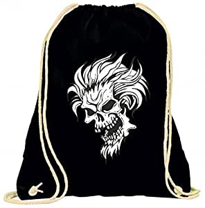 "'Gym bag ""Skull with Hair Ears Scenes Schnauzer with Club"