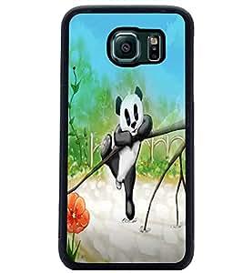 PrintDhaba Cute Panda D-2811 Back Case Cover for SAMSUNG GALAXY S6 EDGE (Multi-Coloured)