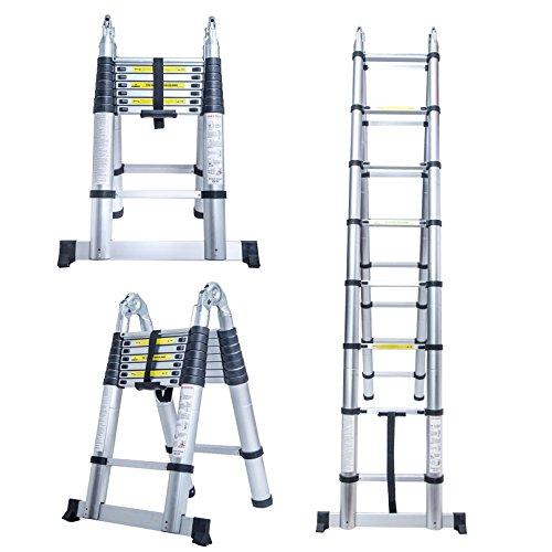 Escalera Keraiz telescópica, de 5m, de aluminio, plegable, multifunción, cumple con las...