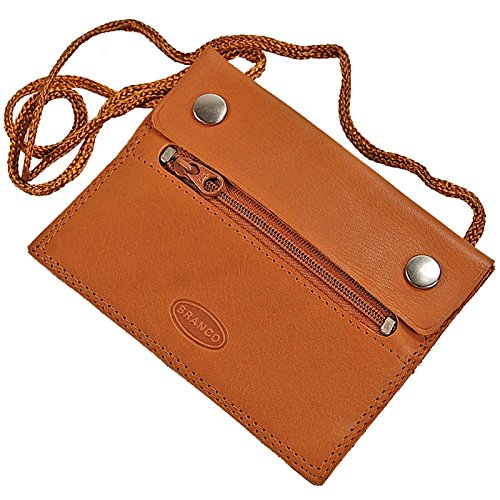 Branco kleiner Leder Brustbeutel Brusttasche Security Wallet super Flach GoBago (natur)
