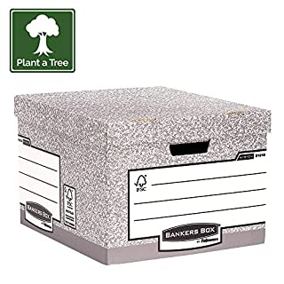 Fellowes 01810-FFEU Bankers Box 01810-FF System Storage Box, Large - Grey, Pack of 10