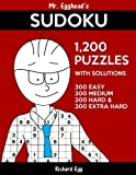 Mr. Egghead's Sudoku 1,200 Puzzles With Solutions: 300 Easy, 300 Medium, 300 Hard and 300 Extra Hard: Volume 12