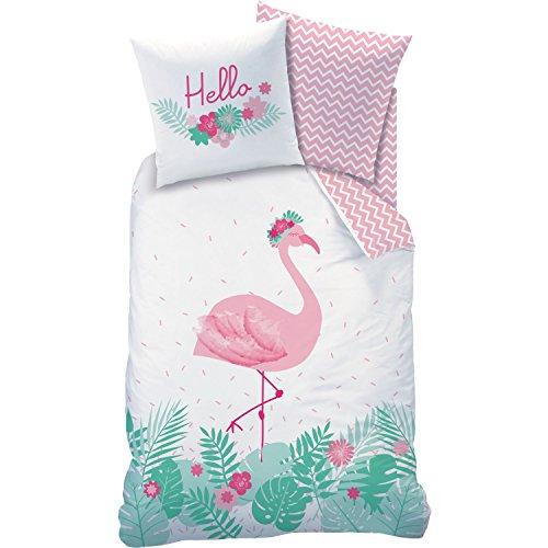 Matt & Rose Bettwäsche Flamant Rosa Flamingo Blumen, Größe:135×200 cm + 80×80 cm