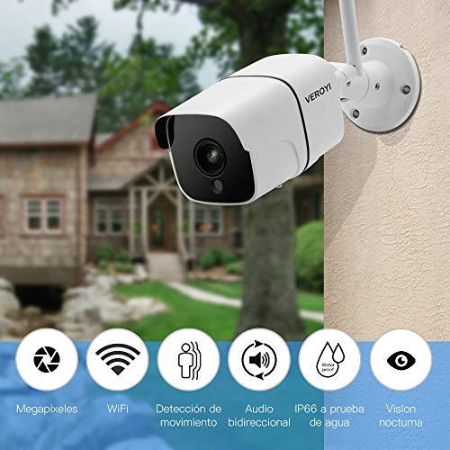 Cámara de Seguridad para Exteriores Veroyi,  cámara de vigilancia WiFi 1080P con visión Nocturna/detección de Movimiento,  Audio bidireccional,  Monitor Remoto,  Movimiento automático