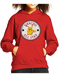 Pikachu Pokemon All Star Converse Logo Kid's Hooded Sweatshirt