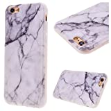 """GrandEver Soft Back Cover for Apple iPhone 6 Plus iPhone 6S Plus Silicone Case Printed Marble Stone Pattern TPU Bumper Protective Slim Gel Skin Rubber Case Flexible Shock Scratch Resist Protection Shell for iPhone 6 Plus/6S Plus(5.5"""") -- White Crack Printed"""