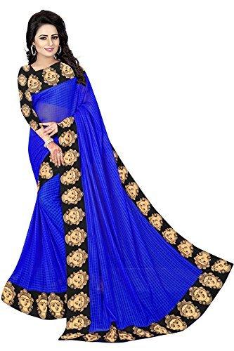 Vrati Fashion Saree With Blouse Piece (sarees for women-jigo-01_Blue_Free Size)